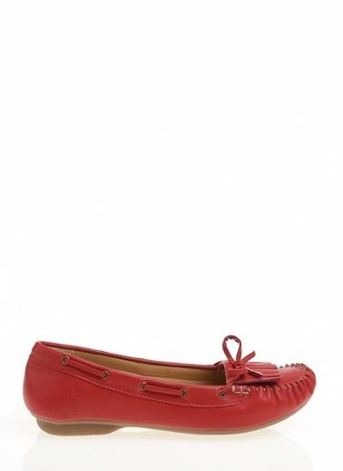 Limon Company Suni Deri Fiyonk Ve Püskül Detaylı Lastikli Düz N Kadın Günlük Ayakkabı Kırmızı